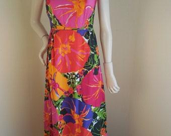 Vintage 60s Hawaiian MuuMuu gown is Park East Brand