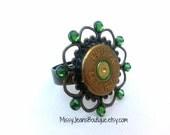 Bullet Casing Ring - Bullet Shell Ring Adjustable - Green Swarovski