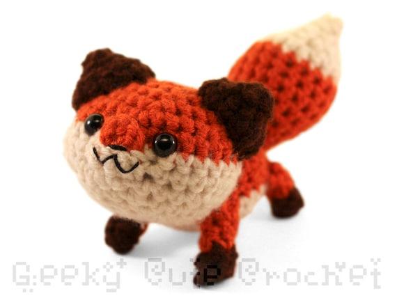 Amigurumi Stuffed Animals : Large Red Fox Amigurumi Crochet Plush Toy Stuffed Animal