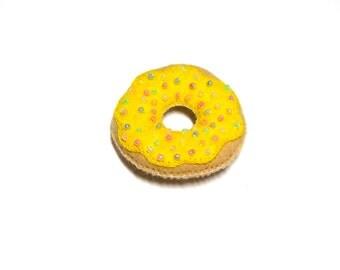Donut Brooch - Cute Lemon Felt Pin With Frosting and Sprinkles - Kawaii Fairy Kei Pin - Doughnut Brooch - Cute Donut Jewelry