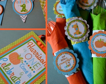 Pumpkin Birthday Party Decorations Blue Orange Green Fully Assembled