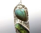 Labradorite Jewelry, Labradorite Beach Pebble Necklace in Sterling Silver