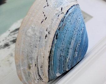 Hand Painted Clam Shell , Nautical , Sea Scape , Beach House Decor , Fine Art