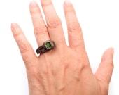 Button Ring Modern (3D printed Steel, Gold, Bronze)