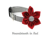 Houndstooth Dog Collar and Flower Set - Classic Houndstooth in Lipstick Red - Made to Order in Your Choice of Size