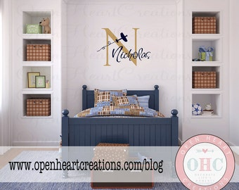 Personalized Airplane Name Wall Decal - Initial and Name with Plane for Baby Nursery Boy Teen Playroom 22H x 32W INA0016