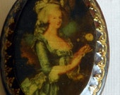 Vintage French Portrait of Marie Antoinette Oval  Brooch. JP149 Estate Sale