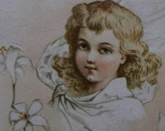 Pretty Long Haired Girl-Ruffled Dress-Lilies-Victorian Card Scrap-1800's