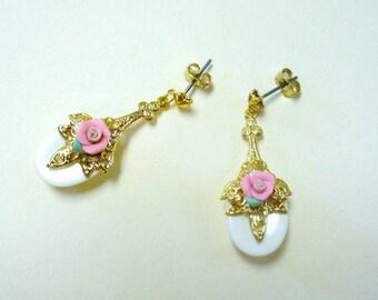 Vintage Filigree Rose Earrings DEADSTOCK