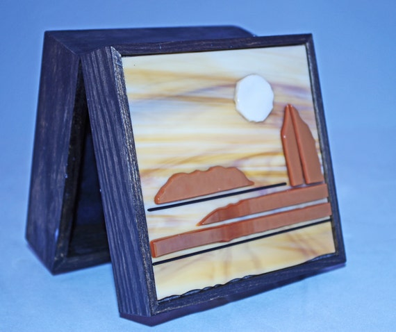 Fused Glass and Wood Landscape box