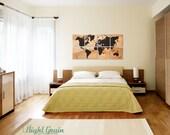 Large World Map Wall Art on Natural Birch Wood Grain Panels - 24x48 Great Gift Idea