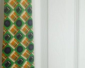 Vintage Designer Ermenegildo Zegna Tie - 1970s Orange and Green Mens Necktie - Wide -