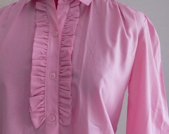 Vintage PINK RUFFLE Blouse • 1990s Secretary Shirt • Medium