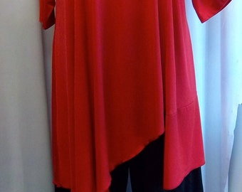 Coco and Juan, Plus Size Tunic, Women's Top, Asymmetric Tunic Top, Red, Traveler Knit Size XL (fits size 14/16)   Bust 46 inches