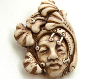 Faux-Ivory Handmade Pendant-  Face with Leaves