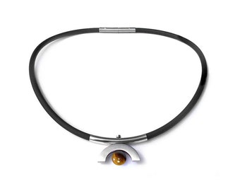 Cool Modern Mens Rubber Necklace with Tiger Eye and Stainless Steel