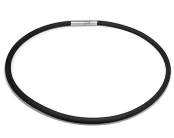 Mens Black Rubber Necklace 5mm Rubber 6mm Clasp