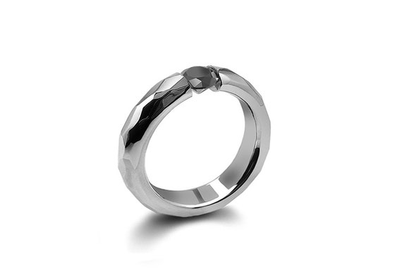 Black Onyx Tension Mens Ring Hammered Stainless Steel Mounting