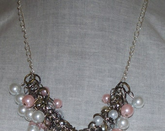Bridal Jewelry - Wedding Day Jewelry - Wedding - Bridesmaid - Pink and White Glass Pearl Cluster Necklace