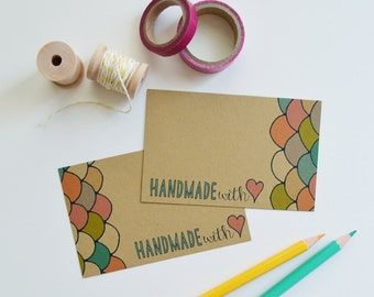 Set of 24 Handmade With Love Mini Cards, Hand Drawn, Illustration, Quote, Note cards, Mini Note cards 2.75 x 4.25 inches