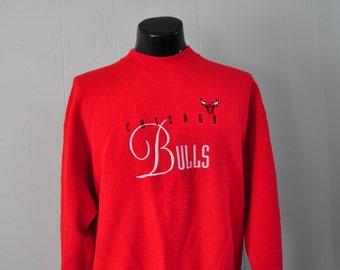 Vintage Chicago Bulls Sweatshirt Embroidered Michael Jordan Red n Black Tee LARGE XL