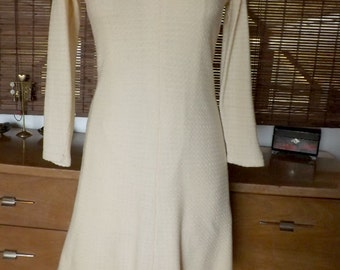 Vintage 60s Cream Waffle Knit Midi Sweater Dress M
