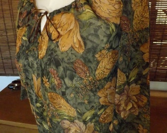 Vintage 70s Floral and Metallic Sheer Peasant Blouse M Free Shipping