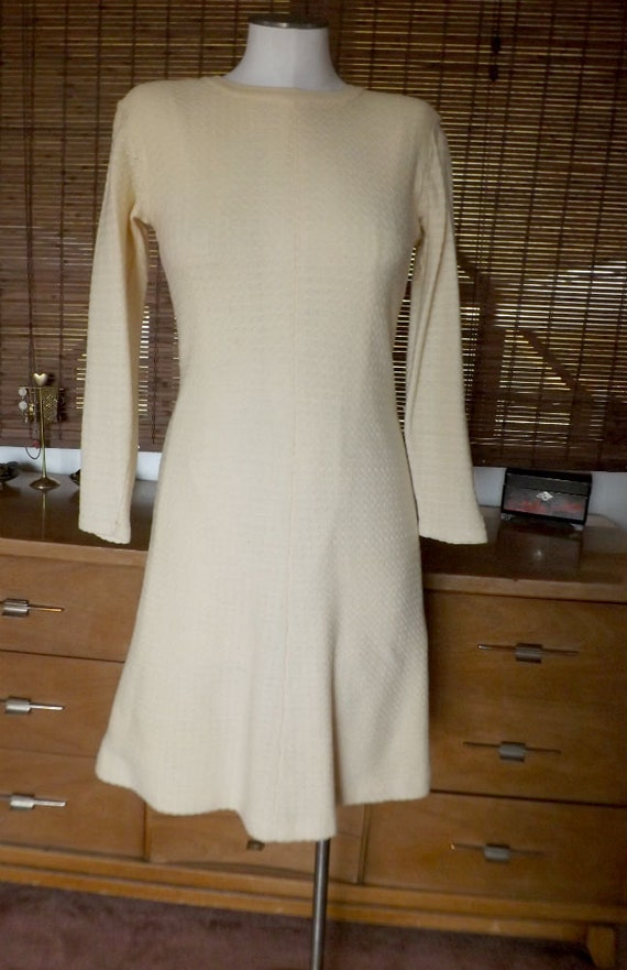 Vintage 60s cream waffle knit midi sweater dress m by calliopegirl