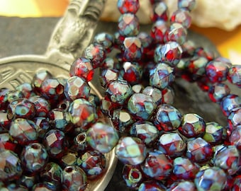 4mm Czech Fire Polished Glass Beads- Ruby Picasso (50)