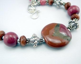 Pink Bead Bracelet, Jewelry Gift, Ceramic Bracelet, Kazuri Beads, Fair Trade Bracelet, Ceramic Jewelry, Ceramic Beads, Adjustable Bracelet