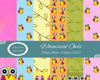 OWLS Set of 6 PRINTABLE Whimsical Digital Papers 12x12 Digital Download Backgrounds