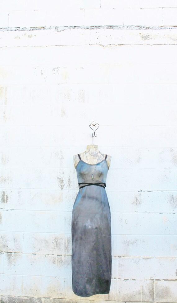 Small Tie Dye Maxi Dress/Long Black Sundress/Great Gatsby/Gothic Dress/Recycled Fashion/Long Black Wiccan Dress/Goddess Dress/Black Sun