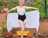 Vintage 80s Oscar De La Renta Black And White Polka Dot One Piece Swimsuit Size 14