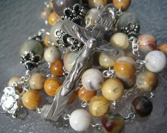 Fine CATHOLIC Rosary Heirloom Quality Linked  SOLID STERLING Silver Crazy Lace Agate and Imperial Jasper Gemstones