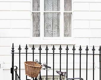 London Photograph - Bicycle in Chelsea, England Travel Fine Art Photograph, Black and White Home Decor, Large Wall Art