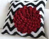 Chevron Flower Pillow Cover - PDF Crochet Pattern - Instant Download