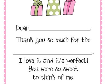 Fill-In Thank You Notes/Pink and Green Gifts- set of 12