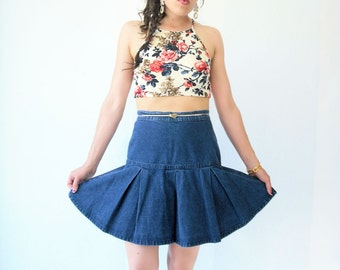 Vintage 80's Jean Pleated High Waist Denim Mini Skirt / Fit and Flare