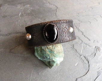 Wide Leather Cuff Bracelet Black Onyx Cabochon Sterling Silver Bezel and Beads Handcrafted One of a Kind Artisan Jewelry