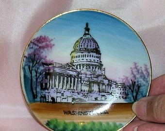 NICO Hand Painted US Capital Trinket Dish, Pin Dish, or Vanity Tray 1951