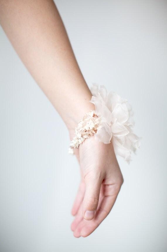 Bridal Flower Bracelet : Bridal bracelet silk flower corsage pearl floral wrist