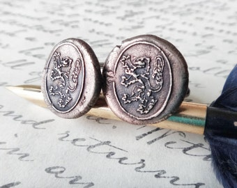 Lion Rampant Cufflinks - Regal Cuff Links - Heraldic Wax Seal Cuff Links House Lannister Game of Thrones