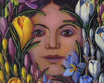 Encountering the Crocus ORIGINAL PAINTING oil on canvas spring flowers plant spirit woman colorful garden fine art gift - Free U.S. shipping