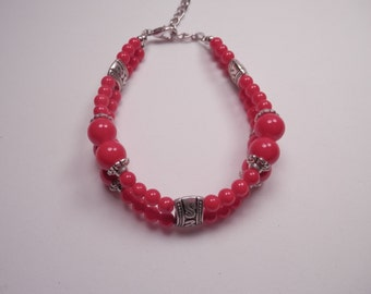 Red Beaded Bracelet, 2-Row Bracelet