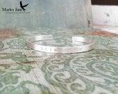 Sterling Silver Cuff Bracelet - Secret Message Cuff Custom Matte Personalized Mother Children Child Mom Baby Wife