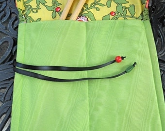 Knitting Needle Keeper, Lovely Colors and Pattern, Roll Up, Repurposed Linens