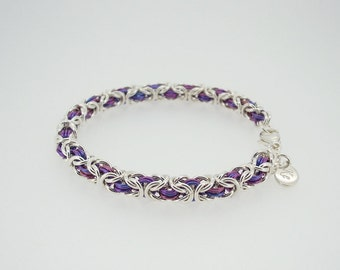 Pink purple and silver chainmaille bracelet with sterling silver and niobium