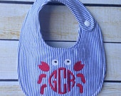 Seersucker Crab Bib, embroidered bib, monogrammed bib, shower gift