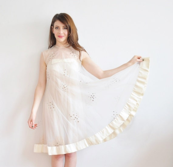 r e s e r v e d sheer mod bridal slip dress . rare 1960 sequin D R E A M gown .extra small.xs .sale