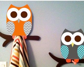 owl towel racks owl bathroom room decor wall hanging owl decor nursery decor, owl coat rack kids room decor owl nursery decor wooden owl